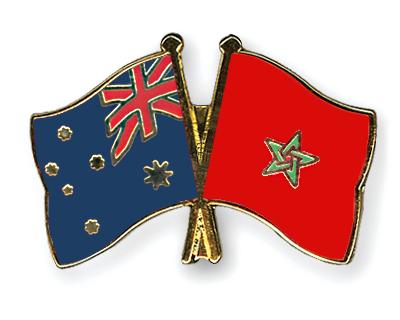 Freundschaftspins Australien-Marokko
