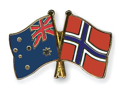 Freundschaftspins Australien-Norwegen
