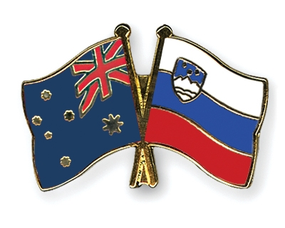 Freundschaftspins Australien-Slowenien