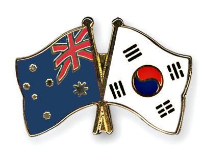Freundschaftspins Australien-Suedkorea